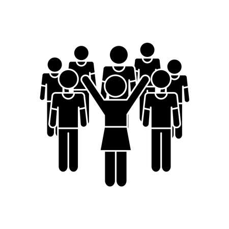 pictogram excited woman and men standing around over white background, silhouette style, vector illustration
