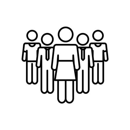 pictogram businessmen and woman standing over white background, line style, vector illustration 向量圖像