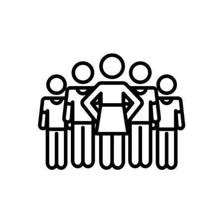 group of pictogram woman and men icon over white background, line style, vector illustration 向量圖像