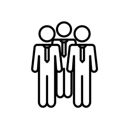 group of pictogram businesspeople icon over white background, line style, vector illustration 向量圖像