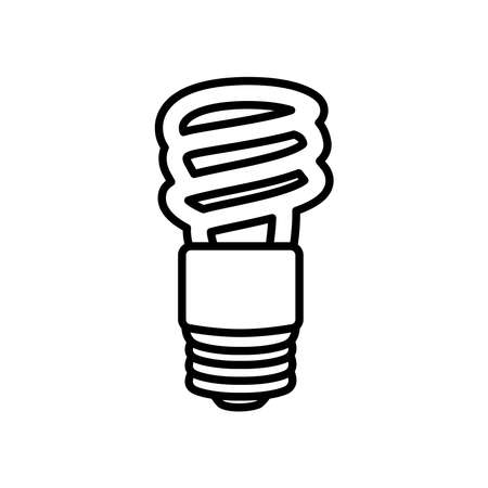 spiral bulb light icon over white background, line style, vector illustration 向量圖像