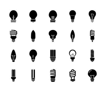 led bulb light and bulb lights icon set over white background, silhouette style, vector illustration