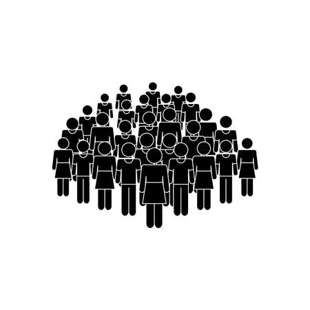 pictogram people crowd icon over white background, silhouette style, vector illustration