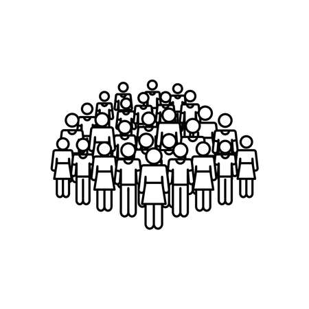 pictogram people crowd icon over white background, line style, vector illustration