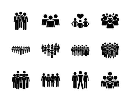 icon set of pictogram businessmen and people over white background, silhouette style, vector illustration  イラスト・ベクター素材