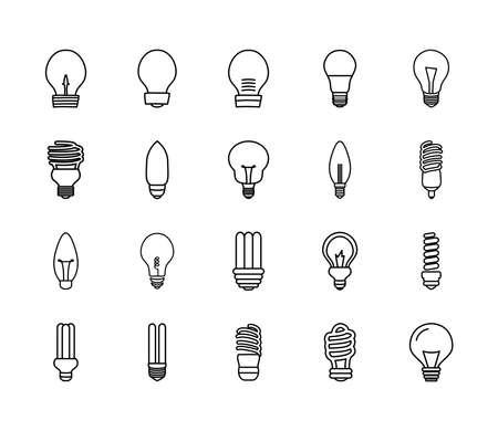 led bulb light and bulb lights icon set over white background, line style, vector illustration Ilustração