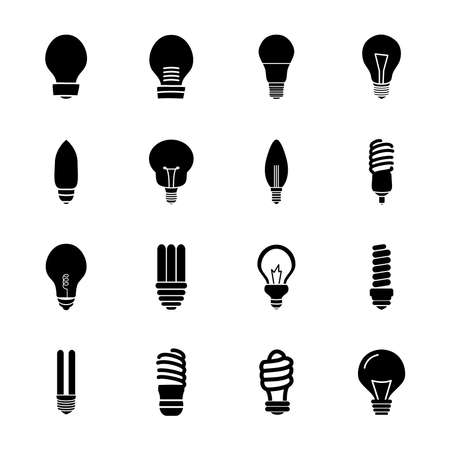 stick bulb light and bulb lights icon set over white background, silhouette style, vector illustration 向量圖像