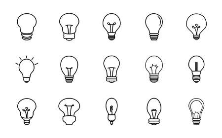 candle bulb light and lightbulbs icon set over white background, line style, vector illustration
