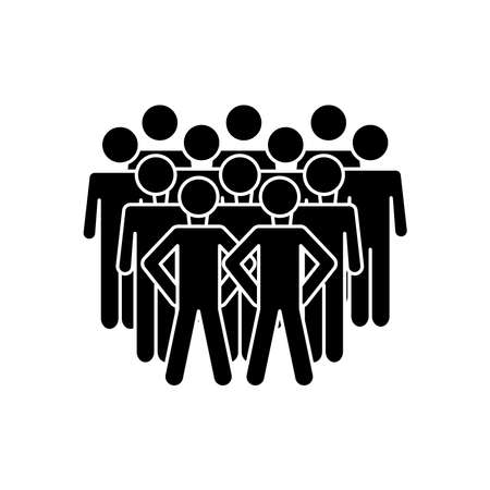 crowd pictogram people icon over white background, silhouette style, vector illustration 向量圖像