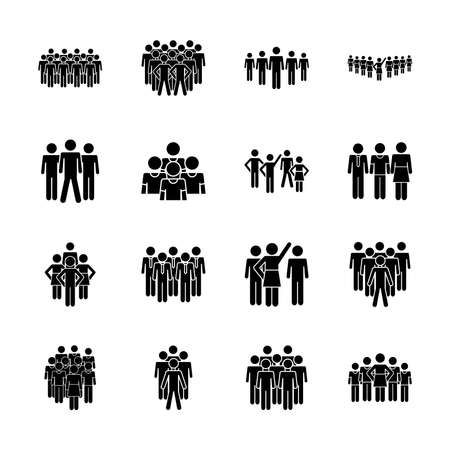 pictogram crowd and people icon set over white background, silhouette style, vector illustration