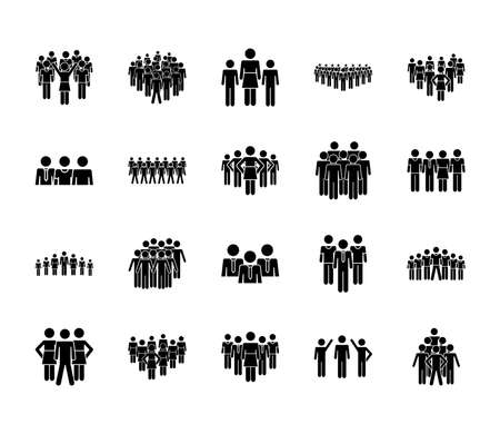 icon set of pictogram men and people over white background, silhouette style, vector illustration