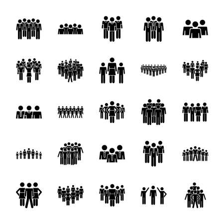icon set of pictogram women and people standing over white background, silhouette style, vector illustration