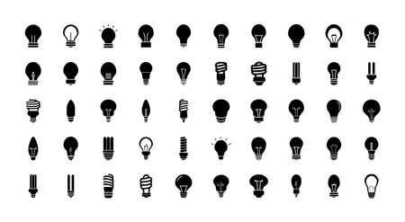 bulb lights icon set over white background, silhouette style, vector illustration