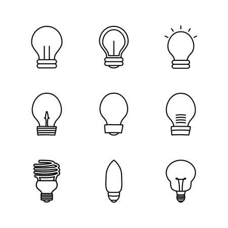 cfl bulb light and lightbulbs icon set over white background, line style, vector illustration 向量圖像