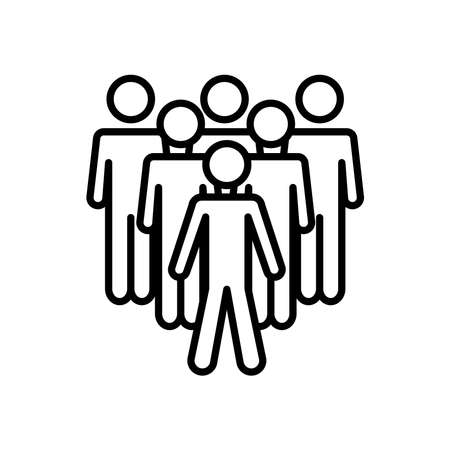 group of men standing icon over white background, line style, vector illustration 向量圖像