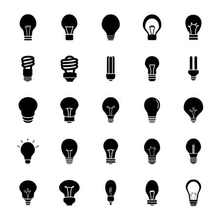 led lightbulbs and lightbulbs icon set over white background, silhouette style, vector illustration