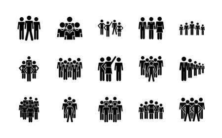 pictogram men and people icon set over white background, silhouette style, vector illustration