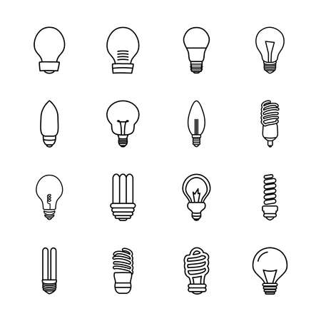 stick bulb light and bulb lights icon set over white background, line style, vector illustration