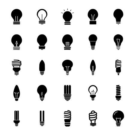 flame bulb light and bulb lights icon set over white background, silhouette style, vector illustration