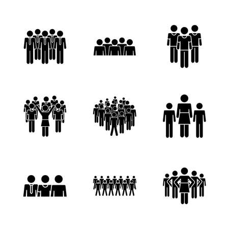 pictogram businessmen and people icon set over white background, silhouette style, vector illustration 向量圖像