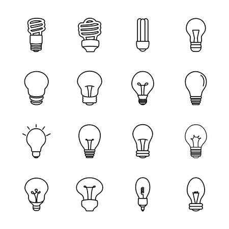 spiral bulb lights and lightbulbs icon set over white background, line style, vector illustration 向量圖像