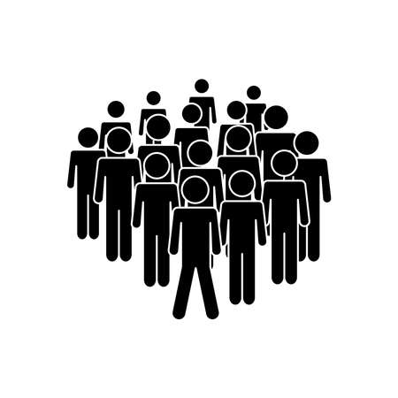 pictogram people standing icon over white background, silhouette style, vector illustration