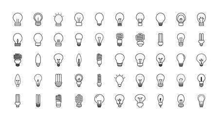 bulb lights icon set over white background, line style, vector illustration Ilustração
