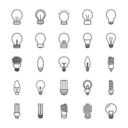 flame bulb light and bulb lights icon set over white background, line style, vector illustration 向量圖像