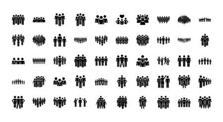 icon set of pictogram people over white background, silhouette style, vector illustration 向量圖像