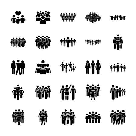 pictogram groups of people icon set over white background, silhouette style, vector illustration