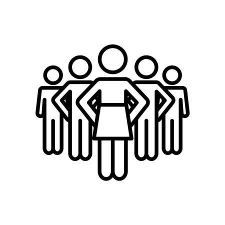 pictogram woman and people over white background, line style, vector illustration 向量圖像