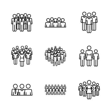 pictogram businessmen and people icon set over white background, line style, vector illustration 向量圖像