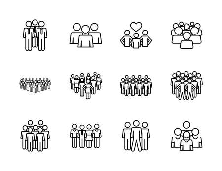 icon set of pictogram businessmen and people over white background, line style, vector illustration