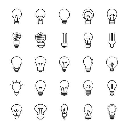 led lightbulbs and lightbulbs icon set over white background, line style, vector illustration