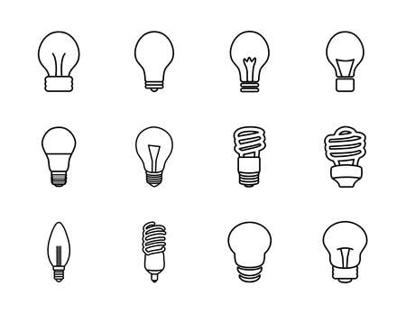 spiral lamps and bulb lights icon set over white background, line style, vector illustration