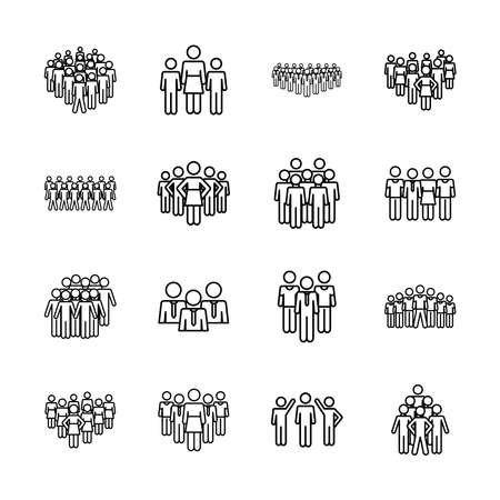 icon set of pictogram women and people over white background, line style, vector illustration Illustration