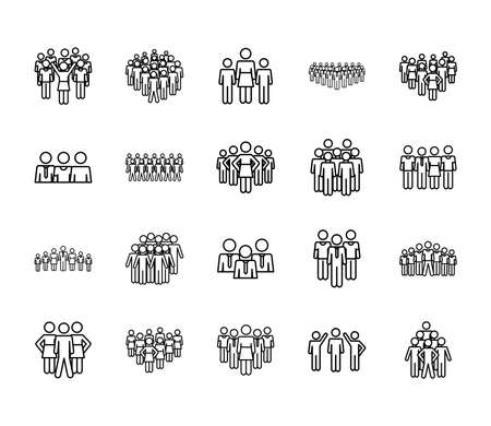 icon set of pictogram men and people over white background, line style, vector illustration
