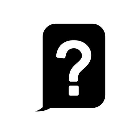 speech bubble with question mark icon over white background, silhouette style, vector illustration Ilustrace