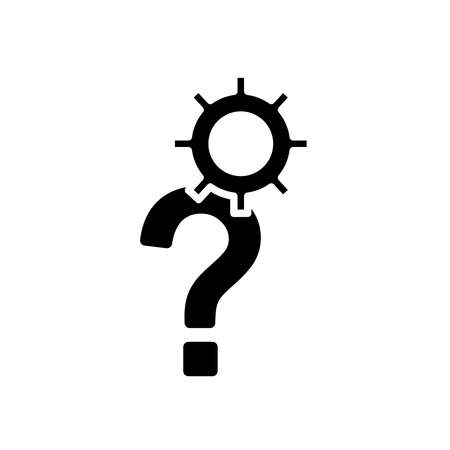 question mark and gear wheel over white background, silhouette style, vector illustration