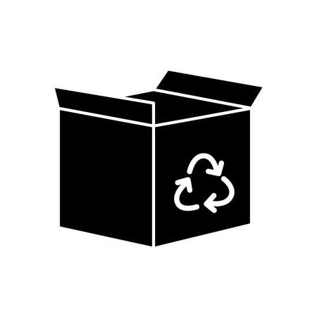 box with recycle symbol icon over white background, silhouette style, vector illustration