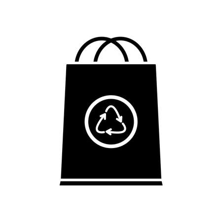 bag with recycle symbol icon over white background, silhouette style, vector illustration