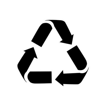 recycle symbol icon over white background, silhouette style, vector illustration 向量圖像