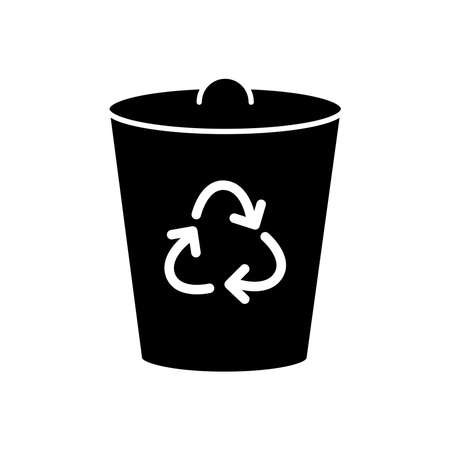 trash can with recycle symbol icon over white background, silhouette style, vector illustration