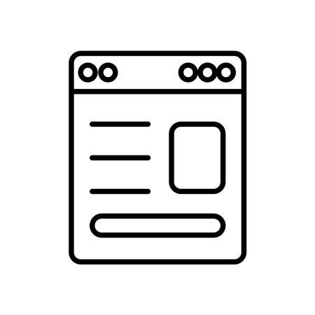 web page window icon over white background, line style, vector illustration  イラスト・ベクター素材