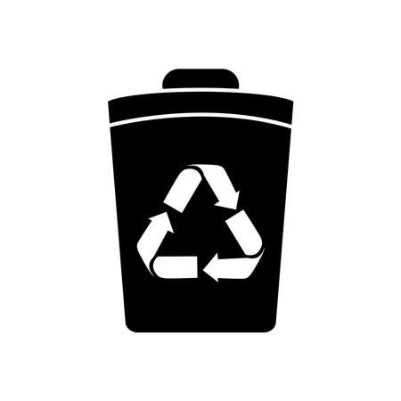 bucket with recycle symbol icon over white background, silhouette style, vector illustration 向量圖像