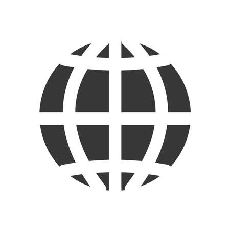 global network sphere icon over white background, silhouette style, vector illustration 向量圖像