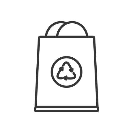 bag with recycle symbol icon over white background, line style, vector illustration
