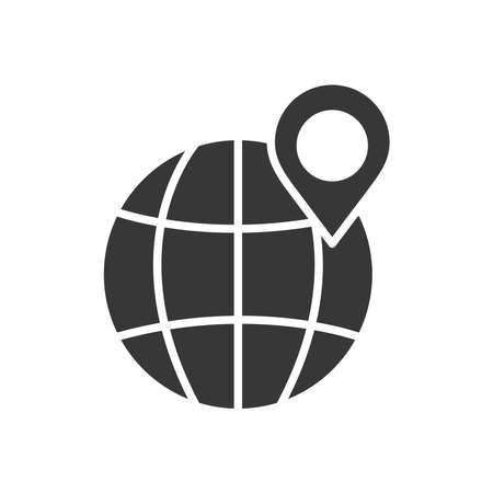 global sphere with location pin icon over white background, silhouette style, vector illustration