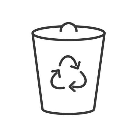 trash can with recycle symbol icon over white background, line style, vector illustration
