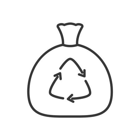 trash bag with recycle symbol icon over white background, line style, vector illustration Ilustracja